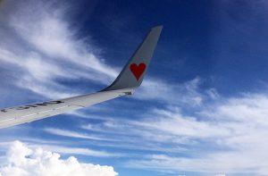 スカイマークエアライン飛行機の翼とハートマーク