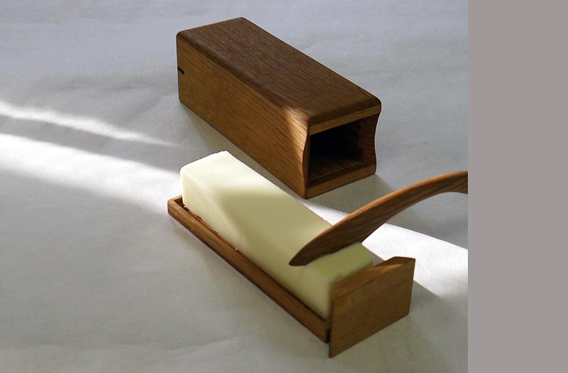 木製バターケース 100gバター用と木製バターナイフ